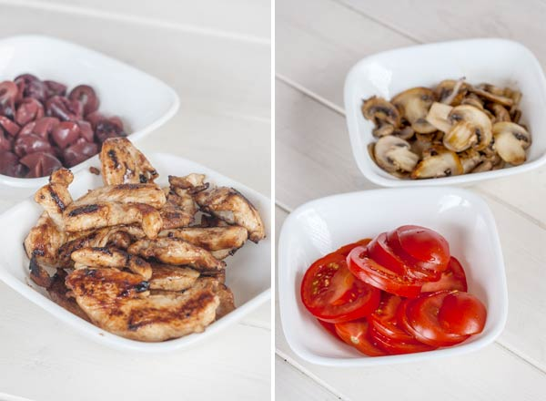 Simple ingredients for a grilled chicken and feta pizza