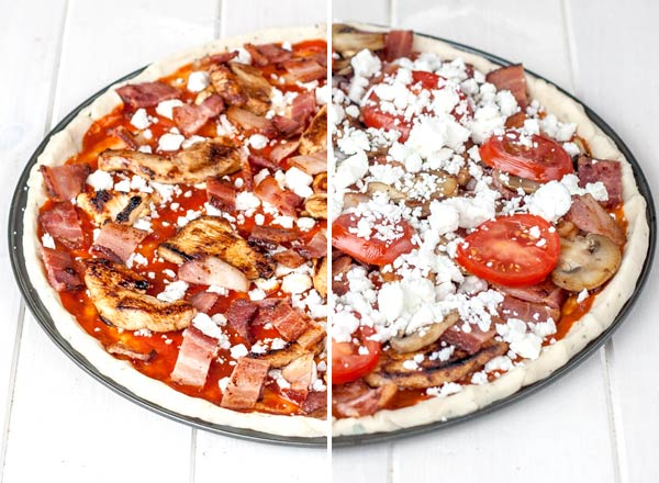 Loaded grilled chicken and feta pizza