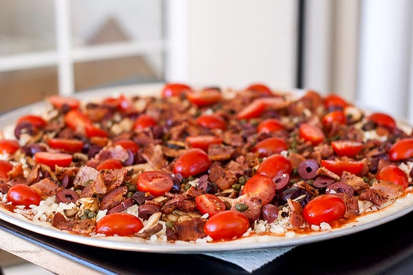 Pizza just before going into the oven | BakingGlory.com