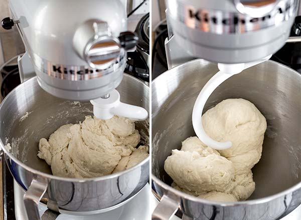 Swirled dough in an awesome KitchenAid mixer