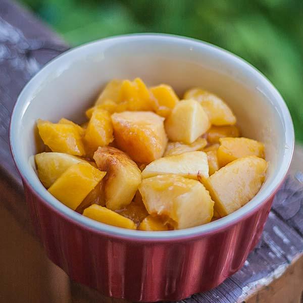 Mango and peaches in a ramekin
