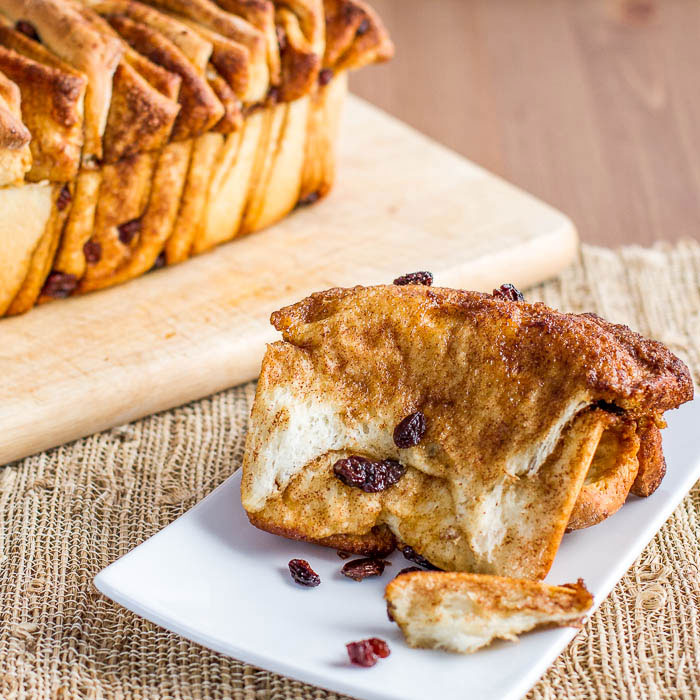 Delicious pull apart bread with cinnamon and raisins, perfect for breakfast