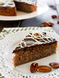 Try this European style chocolate pecan cake