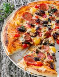 Delicious pizza with a variety of spicy Italian salami and sausage