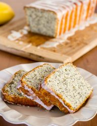Delicious sweet bread with poppy seeds and lemon icing,