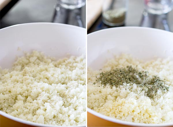 Mashed cauliflower for cheese sticks crust