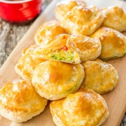Puff pastry loaded with avocado and mozzarella cheese