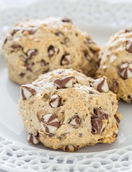 Delicious giant cookies loaded with chocolate chips and oatmeal