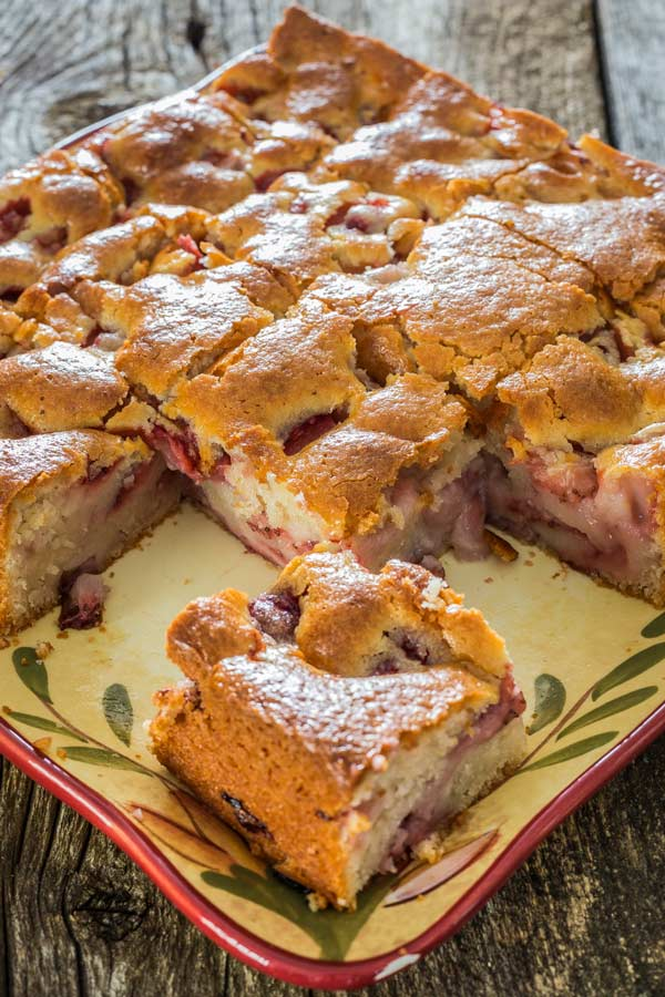 Delicious strawberry cake goes amazingly well for breakfast too