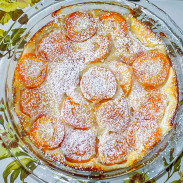Delicious and elegant dessert, made with fresh or preserved apricots and served with whipped cream, ice cream or simply sprinkled with icing sugar.